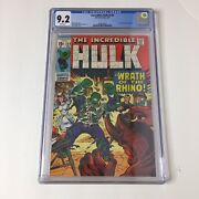 Incredible Hulk 124 Cgc 9.2 Marvel 1970 Leader And Rhino Appearance White Pages