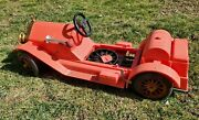 Vintage, Marx Stutz Bearcat Ride-on Toy Car, Red And Black, For Parts Or Repair