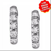 Large Cubic Zirconia Hoop Earrings For Women In Bar With 14k White Gold 1.50 Ct