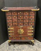 Vintage Chinese Wood Altar Table Herb Apothecary 20 Drawers Medicine Cabinet