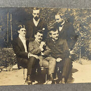 Antique Cabinet Card Group Photo Handsome Men Affectionate Man Gay Int Smoking