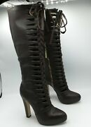 Matiko Anthropologie Laser Cut Knee High Tall Brown Leather Boots Women's Us 7m