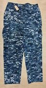 Genuine Us Navy Issue Blue Digital Combat Trousers Size Large/regular 3