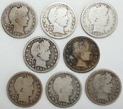 Run Of 8 1897-1904 Silver Barber Quarters 25c Us Coins Average Circulated P Mint