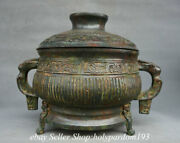 10.4 Marked Ancient Chinese Bronze Ware Dynasty Lid Water Vessel Jar Pot