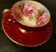Aynsley England Burgundy Red Tea Cup And Saucer With Large Pink Cabbage Roses