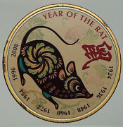 2018 Year Of The Rat Chinese Zodiac Horoscope Color Gilt Silver Medal I92526