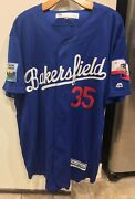 Euc Majestic 2016 Bakersfield Train Robbers Authentic Game Jersey No 35 Size 48