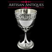 Antique Solid Silver Goblet/cup With Roman Frieze - Elkington And Co 1902