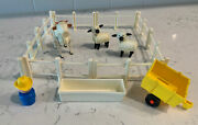 Lot Of 14 Vintage Fisher Price Little People Farm Animals Fence Trough Farmer