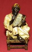 Antique Franz Bergman Cold Painted Bronze Bedouin Scribe Seated On Chair