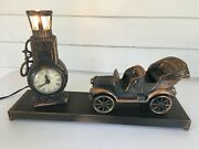 Vintage United Metal Goods Clock - Old Car And Gas Pump W/ Light