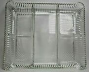 Vintages Clear Pressed Glass Divided Relish Dish11and039and039 By 9and039and039 Good Condition A7