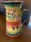 La Province Hand Painted Pitcher 'tabletops' Gallery Used