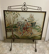 Superb Vintage Art Deco Wrought Iron Painted Etched Glass Fire Screen Heraldic