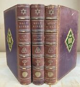 Rare Ballantyne Press The Holy Bible And Apocrypha 3 Vols. London Leather Antique