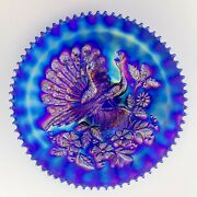 Northwood Peacocks On The Fence Carnival Glass Plate, Electric Blue, Ribbed Back