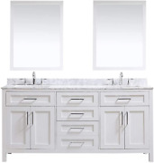 Ove Decors Maya 72 In. White Double Vanity Sink With Carrara Marble Top And Mirr