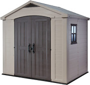 Keter Factor 8x6 Large Resin Outdoor Shed For Patio Furniture Lawn Mower And B