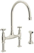 Rohl U.4718x-pn-2 Perrin And Rowe Deck Mount Bridge Kitchen Faucet With Sidespra