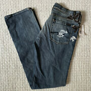 7 For All Mankind Great Wall Jeans Mens Size 30 Leather Skull Crossbones