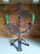 Vintage Solid Heavy Iron Gothic Spanish Style Candelabra Hanging/standing 20