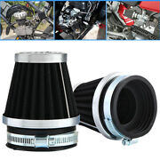 2x 60mm Inlet Cold Air Intake Tapered Black Pod Air Filters Clean For Motorcycle