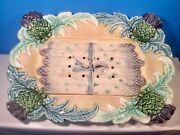 Antique French Majolica 2 Piece Asparagus And Artichoke Serving Platter C.1800and039s