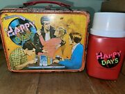 Vintage 1976 Happy Days Metal Lunchbox Fonz And The Gangandrdquo And Thermos King Seeley