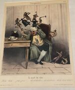 Antique 19th Century French Print The Headache With Devil And Demons Torturing Man