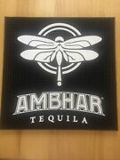 Ambhar Tequila 17andrdquo X 17andrdquo Black Rubber Coaster Bar Mat With Dragonfly New