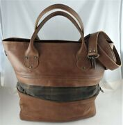 Love 41 Zipper Tote Bag Caramel Leather W/ Plaid Canvas Sold Out Tan Brown Color