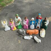 Vtge Empire Blow Mold Complete Nativity Set Christmas 12 Piece Set Made In Usa