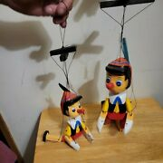 Vintage Two Wooden Pinocchio Puppets Amazing Condition Hand Painted