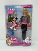 Barbie Ice-skating Dolls And Playset With Blonde Coach Barbie Doll