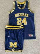 Jimmy King Fab 5 Michigan Wolverines Authentic Nike Jersey And Shorts Sz Large Set
