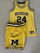 Jimmy King Fab 5 Michigan Wolverines Authentic Nike Jersey And Shorts Large Set
