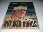 Authentic Wwii 1943 'doing All You Can, Brother' 'buy War Bonds' Poster 20 X 28