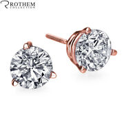 1 Carat Diamond Earrings Rose Gold Screw Back 3 Prong Si2 Andpound4100 52577209
