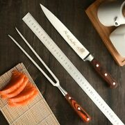 Barbecue Carving Fork Knife Set Stainless Steel Wood Handle Slicing Steak Cut 8