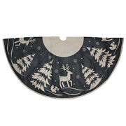 Dyno 56 Rustic Gray And Beige Reindeer In Forest Burlap Christmas Tree Skirt
