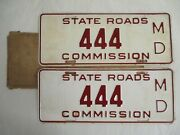 Pair 1930s Maryland State 444 License Plate Tag