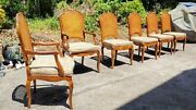Vintage 1970s Caned Henredon French Provincial Chairs And Stained Glass Table