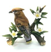 Vintage Lefton Waxwing Bird On Branch Figurine Hand Painted Signed