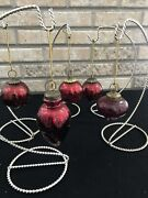 Vintage Kugel Style Ornaments 5 Ruby Red Mercury Glass Round Onion Pinecone 1