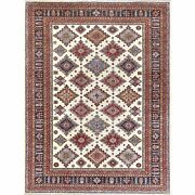 9and0392x12and0391 Ivory With Pop Of Color Hand Knotted Pure Wool Super Kazak Rug G61268