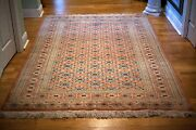 Antique Oriental Rug All Hand Knotted Wool Natural Dyes Signed By Maker 5.4 X 8
