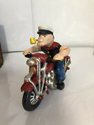 Popeye Outlaw Cast Iron Motorcycle Antique Style 4.25 Lbs 8.25 Inches Long Ex