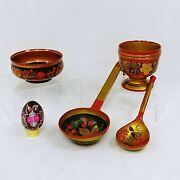 Russian Folk Art Bowls Ladles Egg Hand Painted Lacquered Made In Ussr Vintage