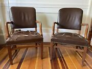 Vintage Gunlocke Leather Arm Chairs With Brass Rivots Pair 2 Brown
